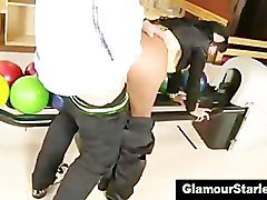 Clothed bowling alley brunette fucked hard
