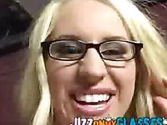 Big tit blonde Cassicy Blue gets her a facial on her glasses