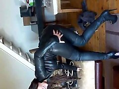 julie skyhigh all in leather catsuit put on overknee boots